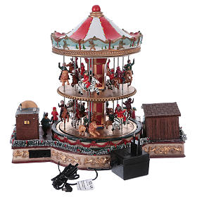 Illuminated Christmas Town with Moving Merry Go Round with music 35x40x35 cm electric powered s5