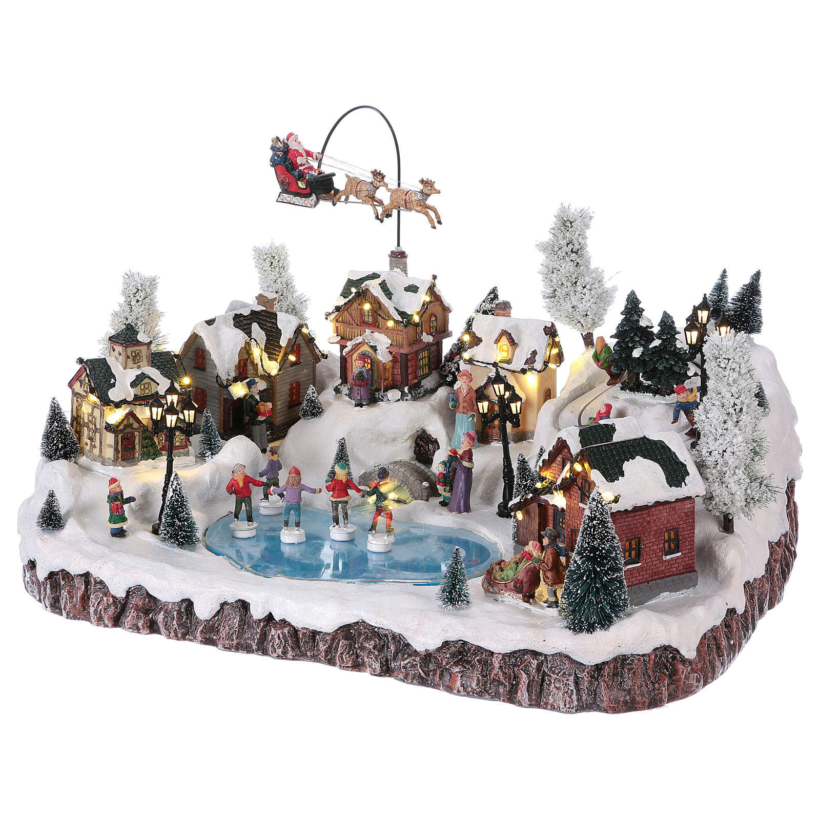 Christmas village with music, movement and lights 30x50x35 cm 3