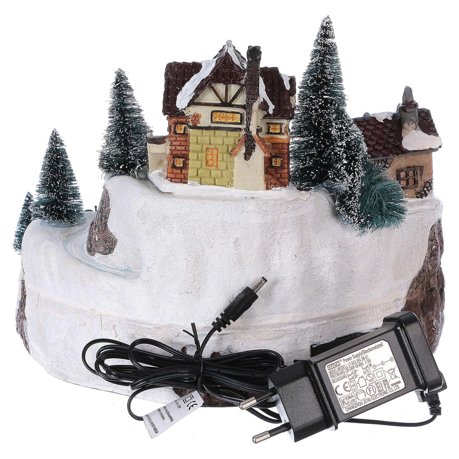 Village hivernal Père Noël lumières mouvement musique 20x25x25 cm courant 3