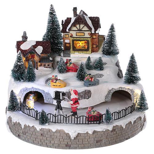 Village hivernal Père Noël lumières mouvement musique 20x25x25 cm courant 1