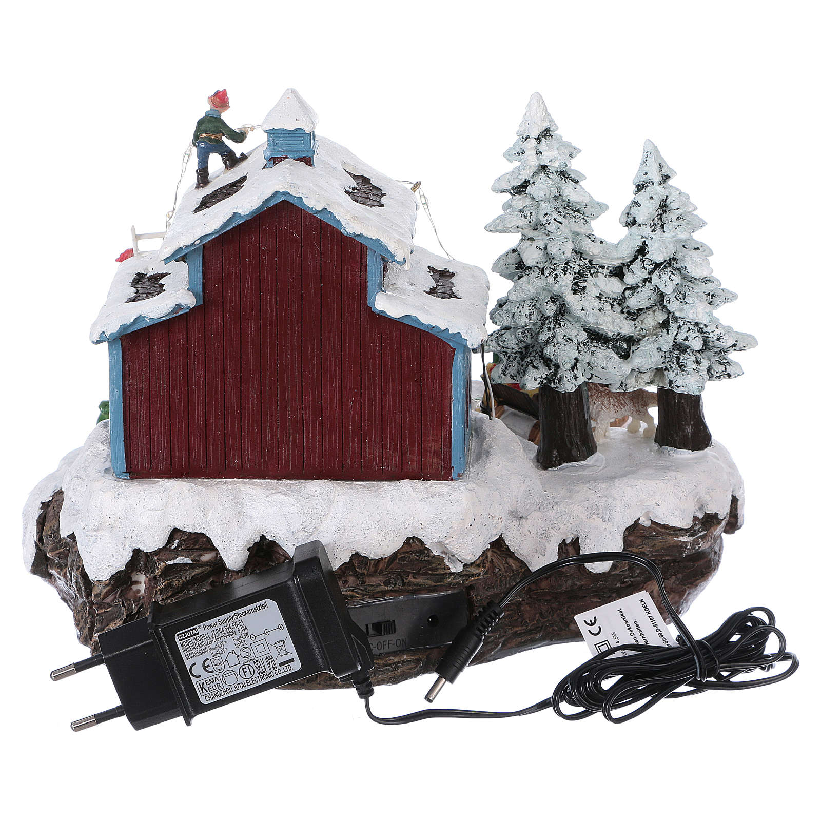 Santa Claus Christmas Village with Gifts 20x25x20 cm lights motion music electric powered 3