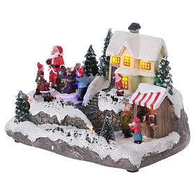 Village de Noël 15x20x15 cm lumières et mouvement piles s3