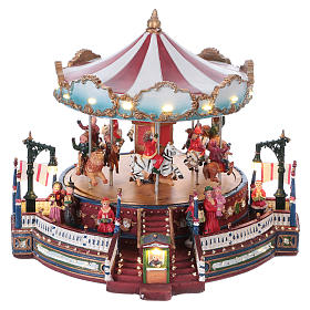 Christmas decoration carousel with lights, music and movement 25x30x30 cm s1