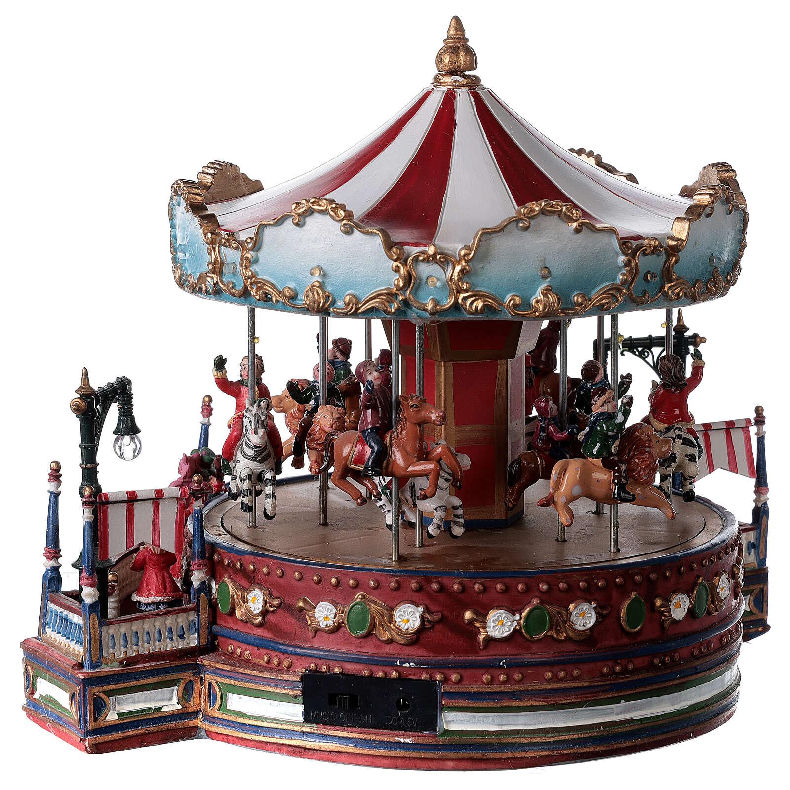 Décor de Noël avec carrousel mouvement lumières musique 25x30x30 cm courant 3