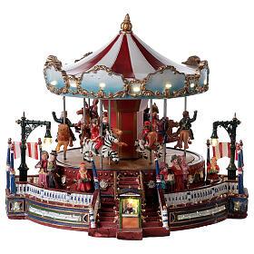 Décor de Noël avec carrousel mouvement lumières musique 25x30x30 cm courant s1