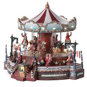 Décor de Noël avec carrousel mouvement lumières musique 25x30x30 cm courant s3