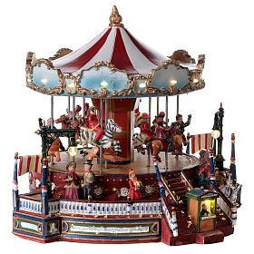 Décor de Noël avec carrousel mouvement lumières musique 25x30x30 cm courant s4