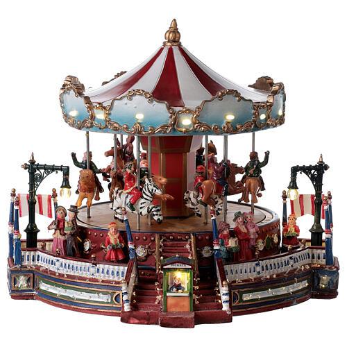 Décor de Noël avec carrousel mouvement lumières musique 25x30x30 cm courant 1