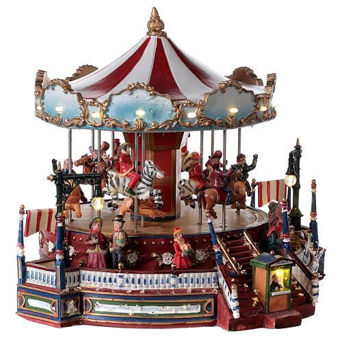 Décor de Noël avec carrousel mouvement lumières musique 25x30x30 cm courant 4