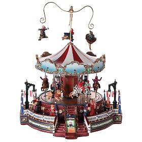 Cenários Natalinos em Miniatura: Cenário natalino com carrossel movimento luzes música 25x30x30 cm corrente