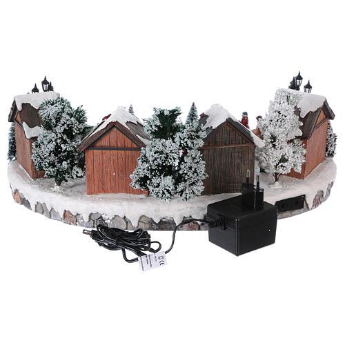 Villaggio di Natale pista pattinaggio luci musica movimento 20x45x30 cm corrente 5