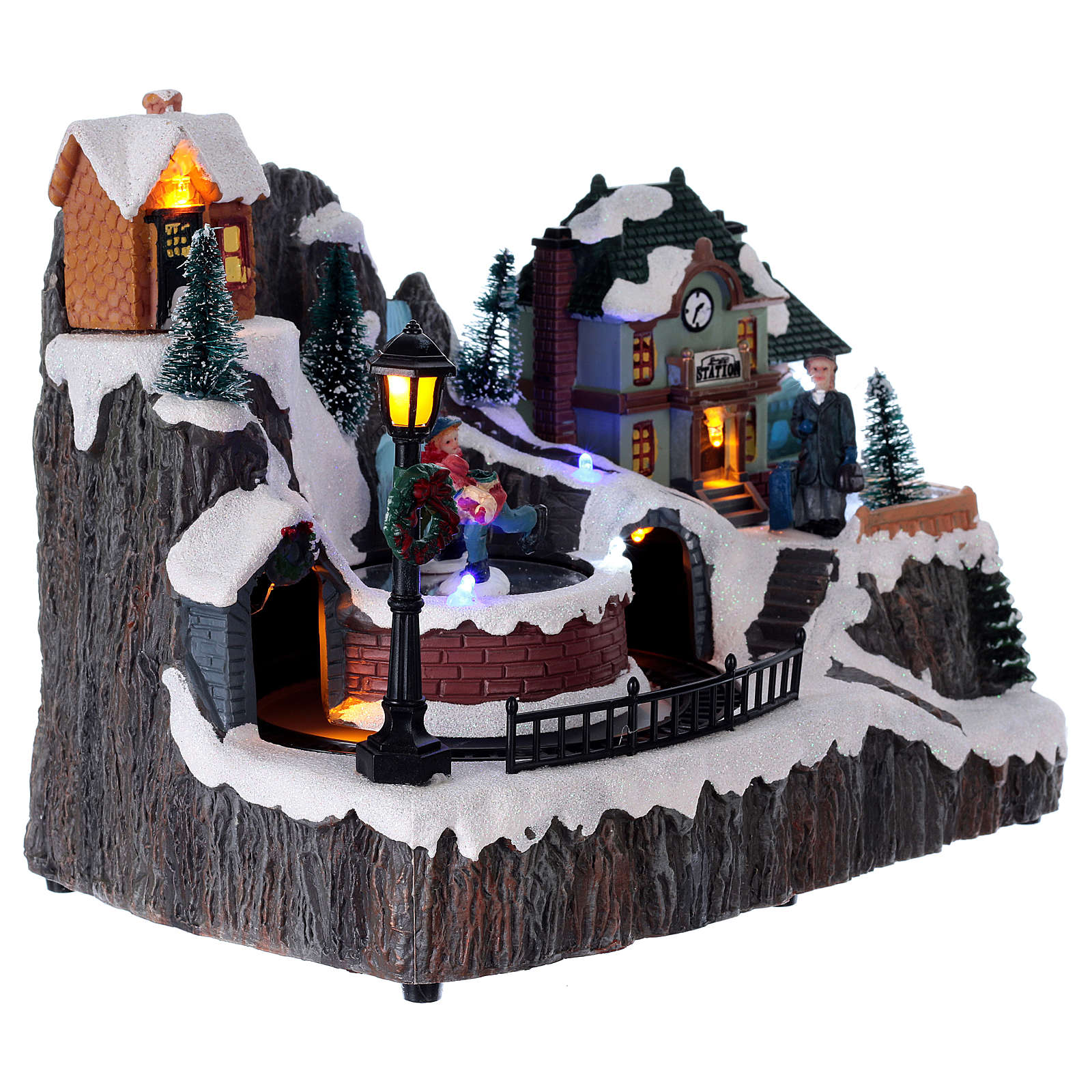 Christmas village with music, lights, station and moving train 20x20x15 cm 3