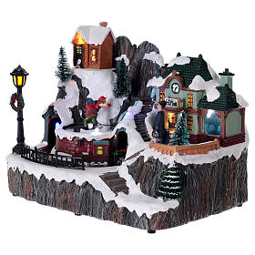 Christmas village with music, lights, station and moving train 20x20x15 cm s3