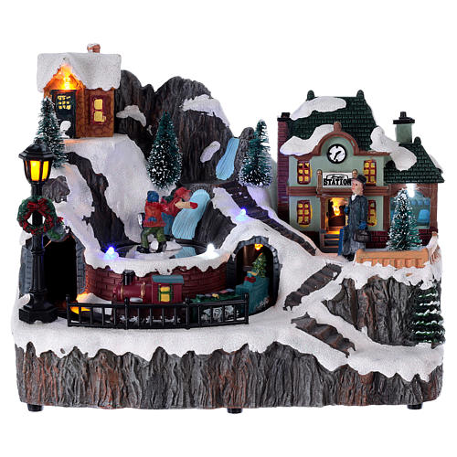 Christmas village with music, lights, station and moving train 20x20x15 cm 1