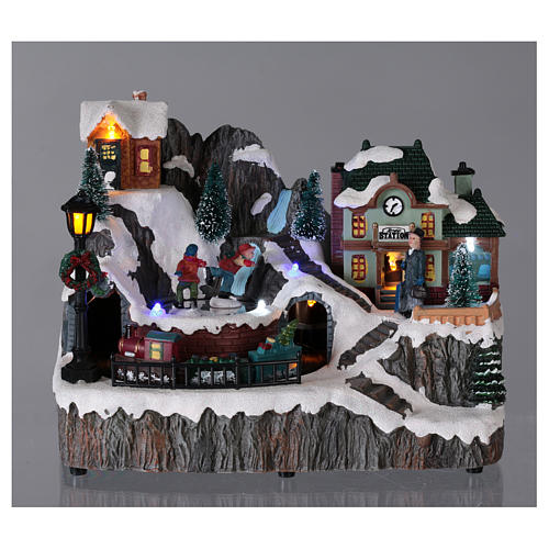 Christmas village with music, lights, station and moving train 20x20x15 cm 2