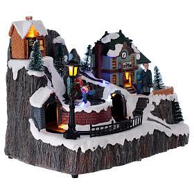 Village Noël lumineux gare musique mouvement 20x20x15 cm s4