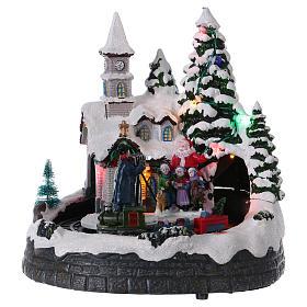 Village Noël train lumières mouvement et musique 20x20x15 cm s1