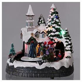 Village Noël train lumières mouvement et musique 20x20x15 cm s2