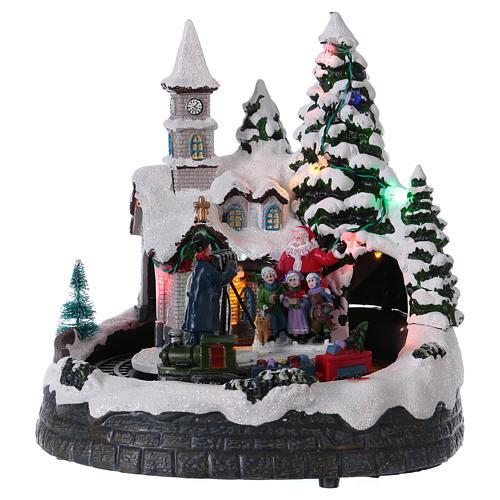 Village Noël train lumières mouvement et musique 20x20x15 cm 1