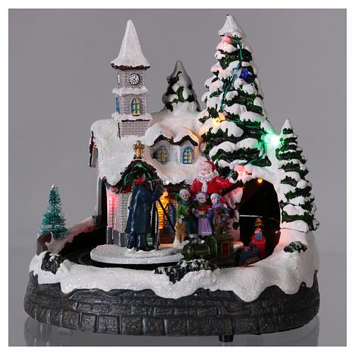 Village Noël train lumières mouvement et musique 20x20x15 cm 2