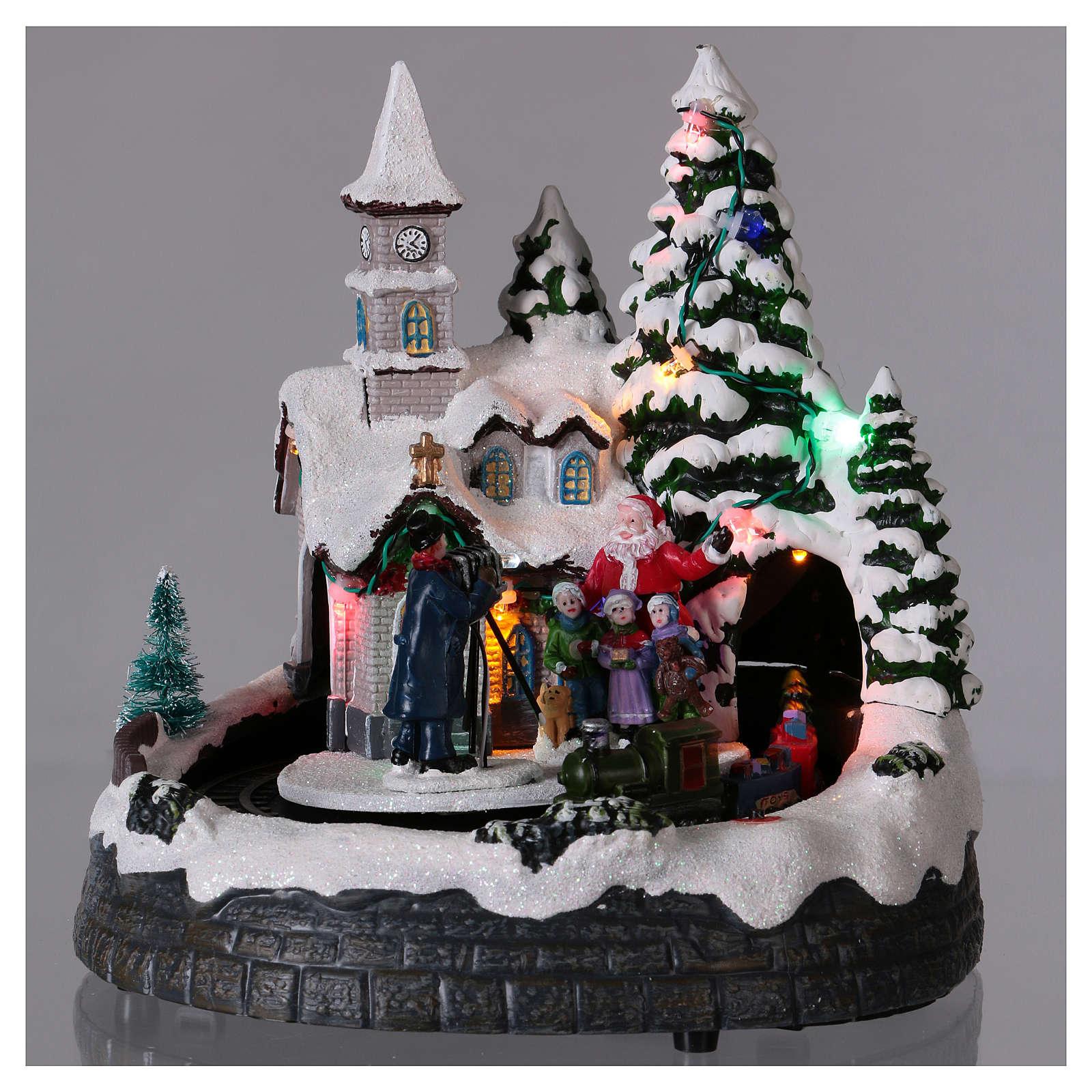 Villaggio natalizio treno luci movimento e musica fotografo 20x20x15 cm 3