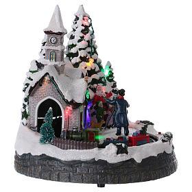 Villaggio natalizio treno luci movimento e musica fotografo 20x20x15 cm s4