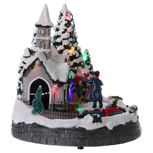 Villaggio natalizio treno luci movimento e musica fotografo 20x20x15 cm 4