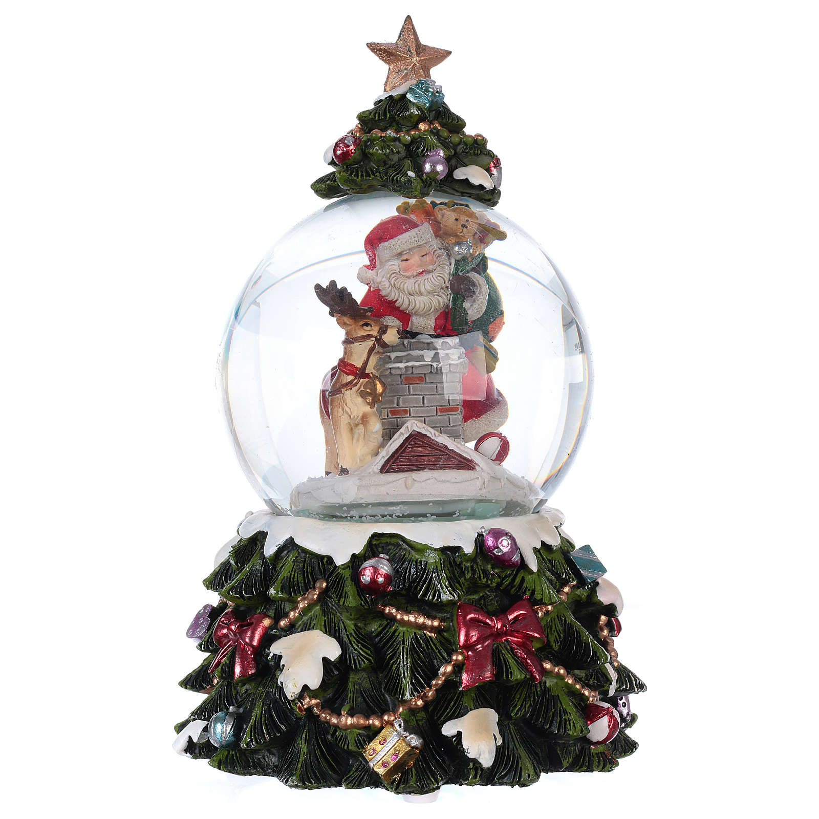 Snow globe with music box Santa Claus, reindeer and chimney, glittered 3