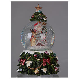 Snow globe with music box Santa Claus, reindeer and chimney, glittered s2