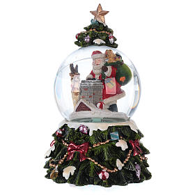Snow globe with music box Santa Claus, reindeer and chimney, glittered s3
