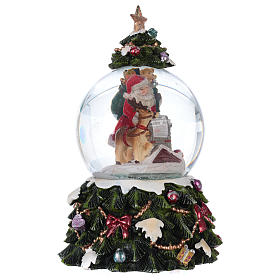 Snow globe with music box Santa Claus, reindeer and chimney, glittered s4