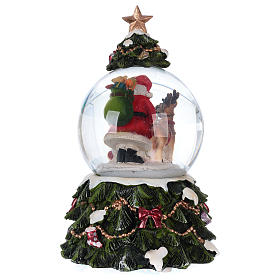 Snow globe with music box Santa Claus, reindeer and chimney, glittered s5