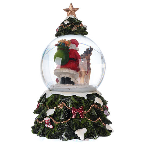 Snow globe with music box Santa Claus, reindeer and chimney, glittered 5