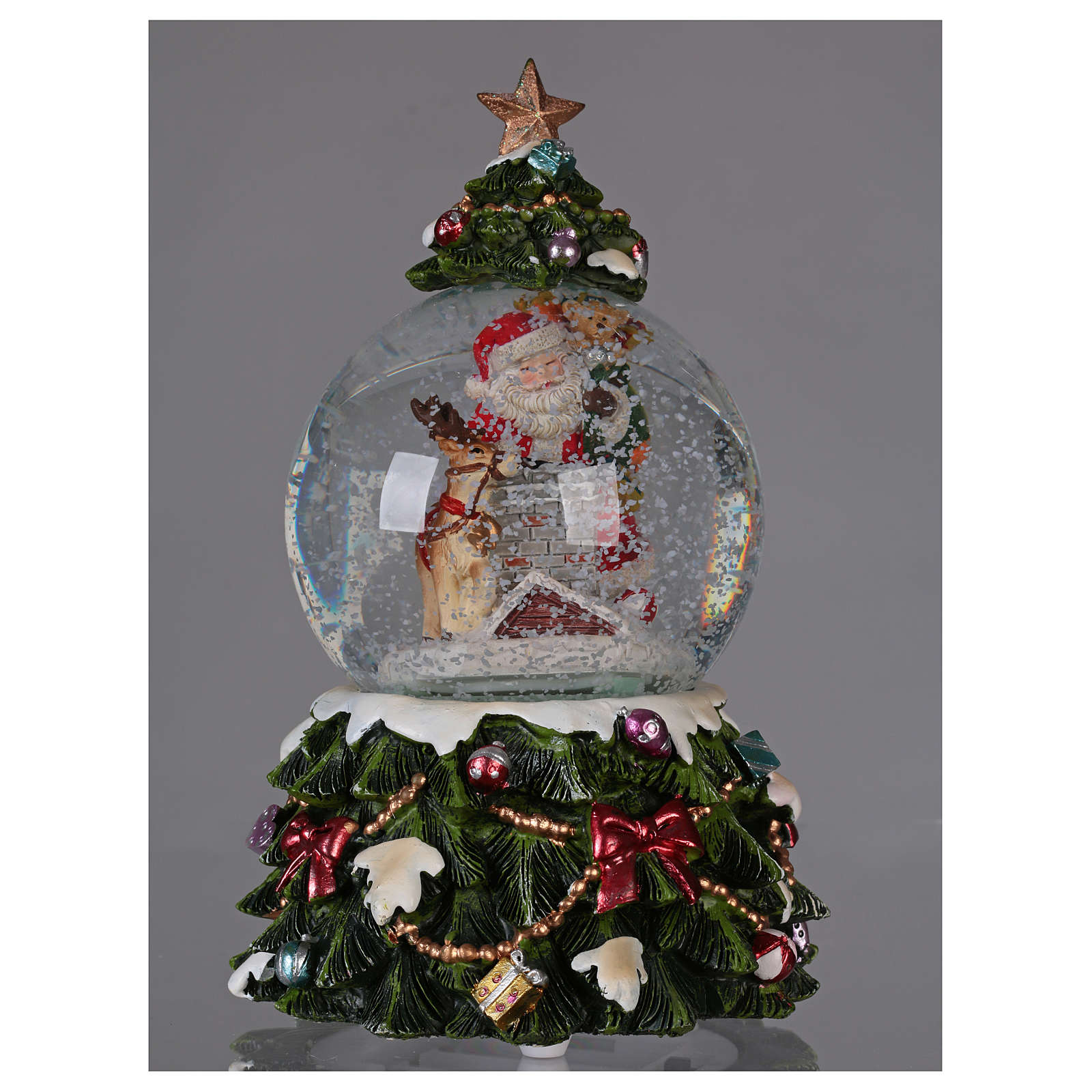 Bola vidrio nieve Papá Noel reno chimenea música y purpurina 3
