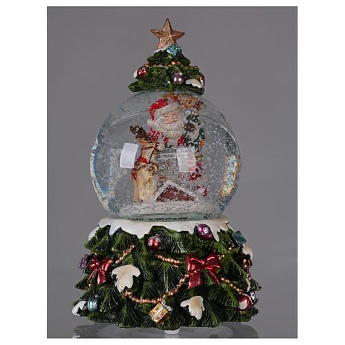 Bola vidrio nieve Papá Noel reno chimenea música y purpurina 2