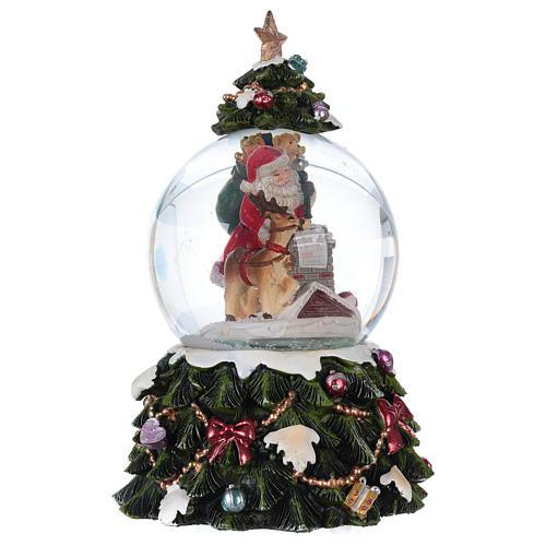 Bola vidrio nieve Papá Noel reno chimenea música y purpurina 4