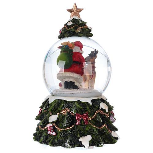 Bola vidrio nieve Papá Noel reno chimenea música y purpurina 5