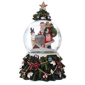 Palla vetro neve Babbo Natale renna camino musica e glitter s3