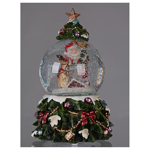 Palla vetro neve Babbo Natale renna camino musica e glitter 2