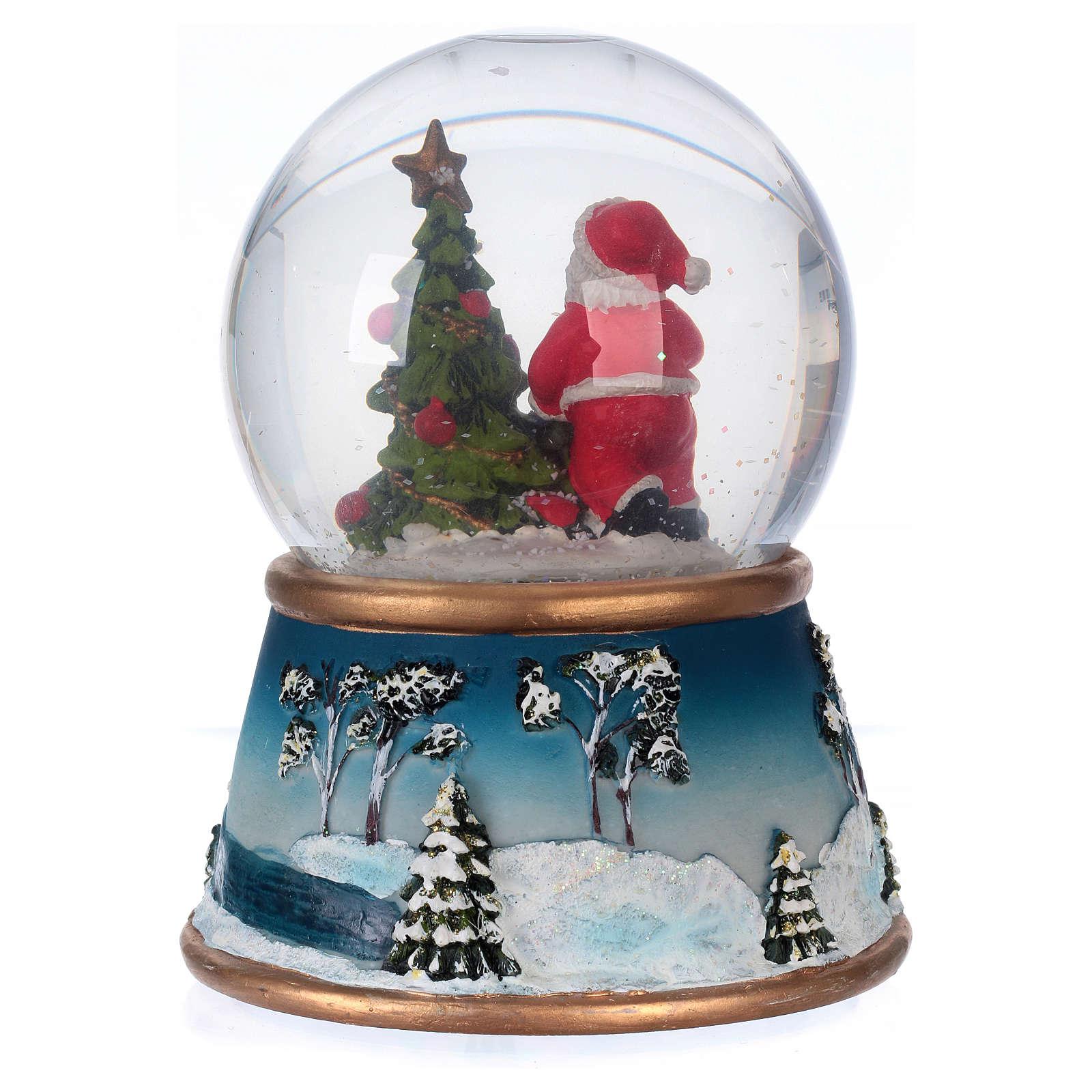 Schneekugel Weihnachtsmann mit Rennitieren Musik und Glitter 3