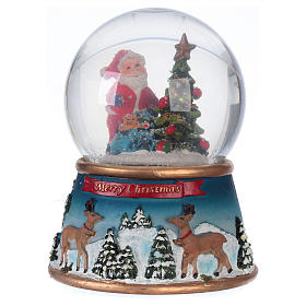 Schneekugel Weihnachtsmann mit Rennitieren Musik und Glitter s1