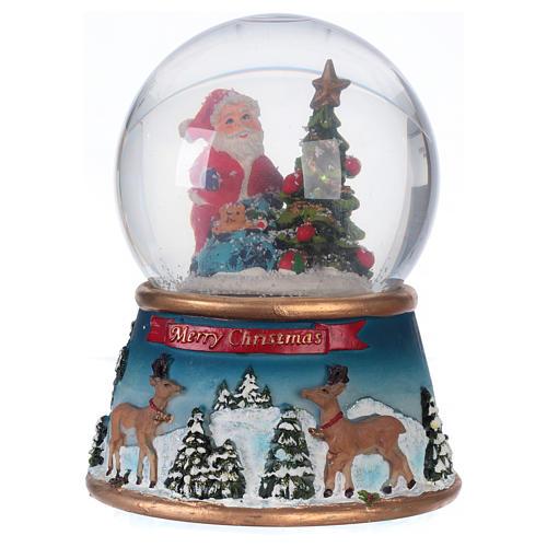 Schneekugel Weihnachtsmann mit Rennitieren Musik und Glitter 1