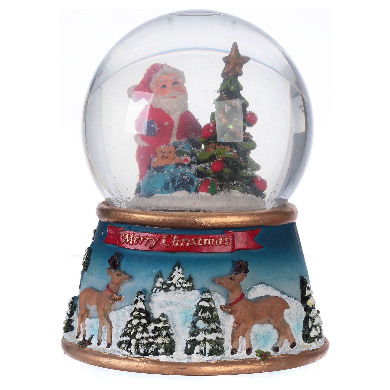 Snow globe with Santa Claus and music, glittered 3