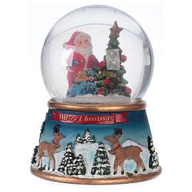 Palla vetro con neve di Babbo Natale con musica glitter s1