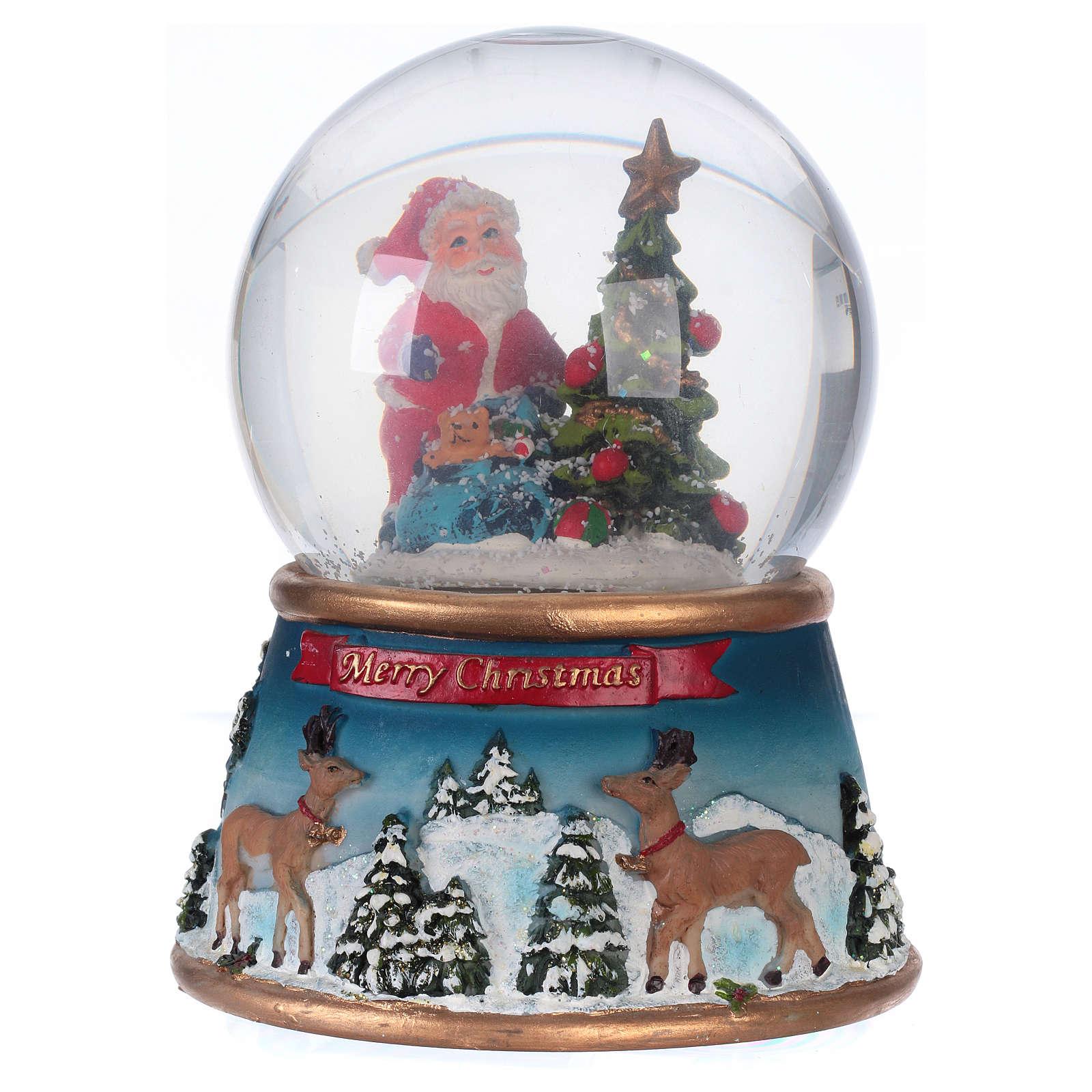 Szklana kula śnieżna ze Świętym Mikołajem melodią i brokatem 3