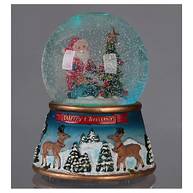 Globo de neve vidro Pai Natal Merry Christmas música e glitter s2