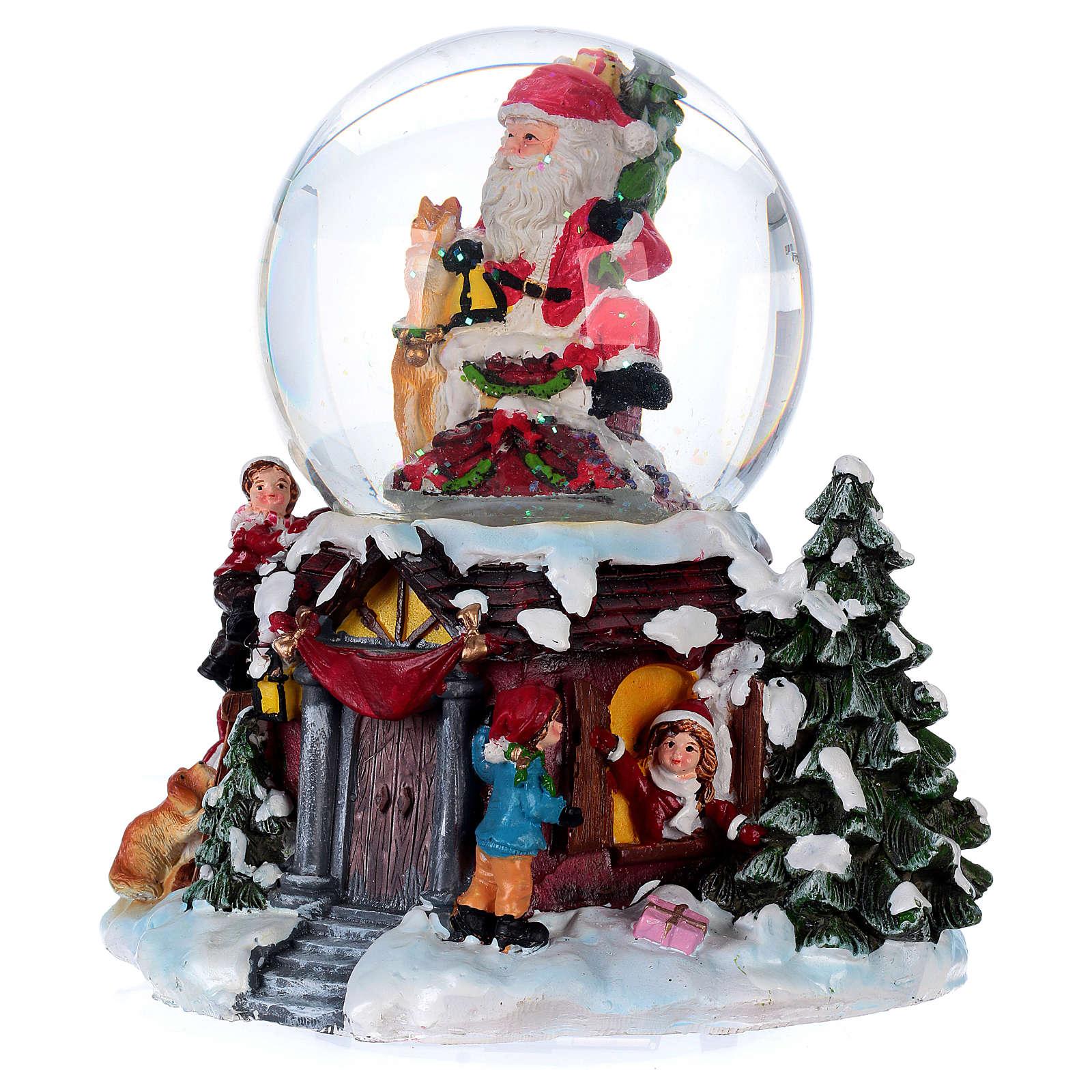 Bola vidrio con nieve y purpurina Papá Noel música y luz 3