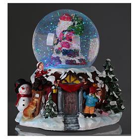Bola vidrio con nieve y purpurina Papá Noel música y luz s3
