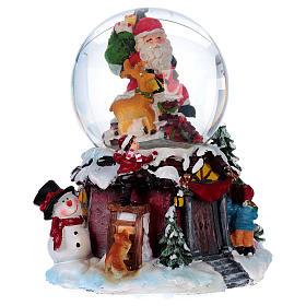Bola vidrio con nieve y purpurina Papá Noel música y luz s5