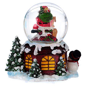 Bola vidrio con nieve y purpurina Papá Noel música y luz s6